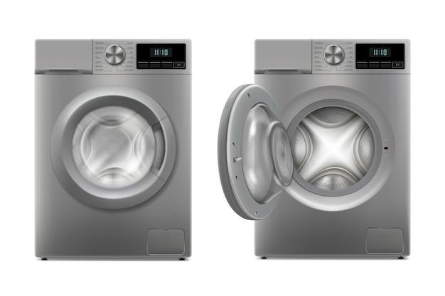 Moderne wasmachine met geopende deur en gesloten deur, vooraanzicht. ontwerpsjabloon van wacher. vooraanzicht, wasserijconcept. 3d-realistische vectorillustratie, geïsoleerd op een witte achtergrond