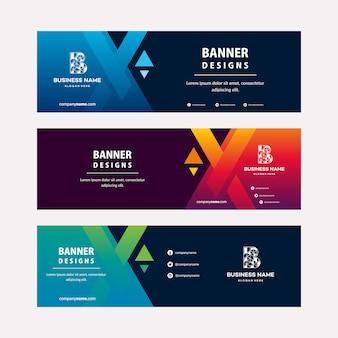 Moderne webbanners sjabloon met diagonale elementen voor een foto