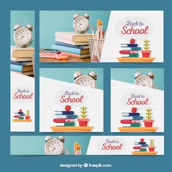 Moderne webbannerscollectie van back to school met afbeeldingen