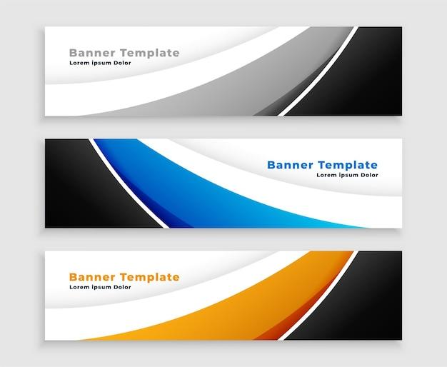 Moderne webgolfbanner in drie kleuren