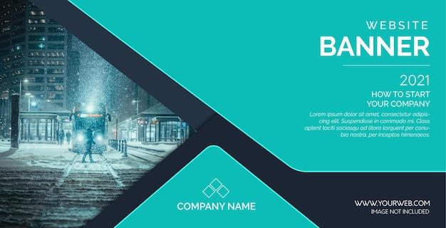 Moderne website-bannermalplaatje met abstracte vormen