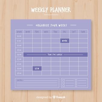Moderne wekelijkse planner sjabloon met platte ontwerp