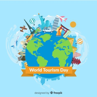 Moderne wereld toeristische dag samenstelling met platte ontwerp