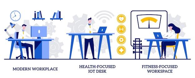 Moderne werkplek, op gezondheid gericht iot-bureau, op fitness gericht werkruimteconcept met kleine mensen. professionele werkruimte abstracte vector illustratie set. slimme persoonlijke ruimte, metafoor voor werknemerszorg.