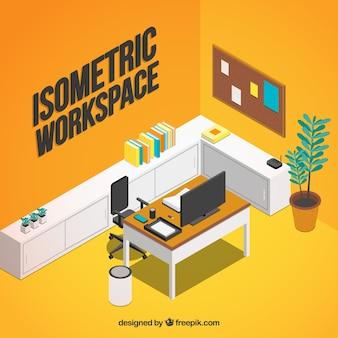 Moderne werkruimte met isometrische stijl