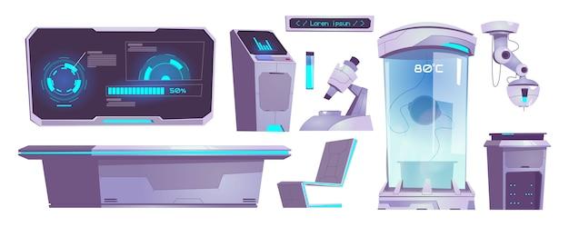 Moderne wetenschappelijke laboratoriumapparatuur, microscoop, chemische buis, computer en tafel geïsoleerd. vector cartoon set technologie iconen van wetenschappelijk laboratorium voor test en analyse