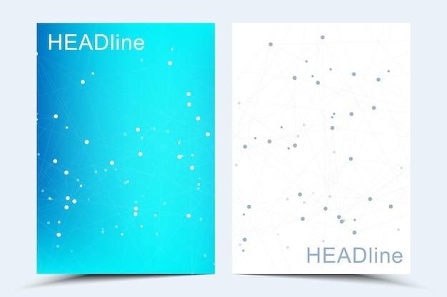 Moderne wetenschappelijke sjablonen voor een rapport en medisch brochureontwerp, omslag, banner, flyer, foldersdecoratie voor afdrukken en presentatie. verbindende lijnen en punten, golven. vector illustratie.