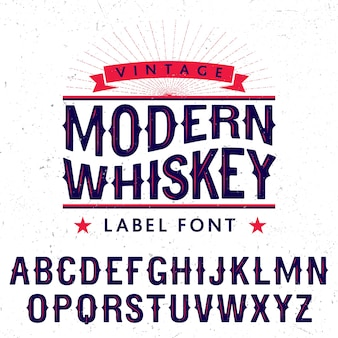 Moderne whiskey label lettertype poster
