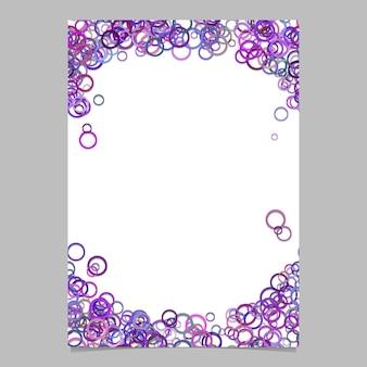 Moderne willekeurige cirkel patroon pagina achtergrond sjabloon - vector lege brochure frame grafisch ontwerp met paarse ringen