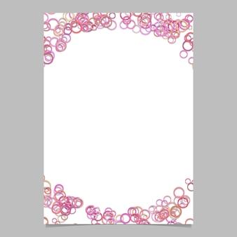 Moderne willekeurige cirkel patroon pagina achtergrond sjabloon - vector lege brochure frame grafisch ontwerp met roze getinte ringen