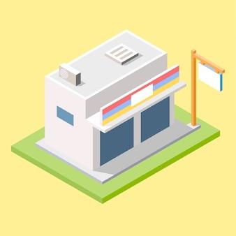 Moderne winkel-minimarkt in isometrisch ontwerp