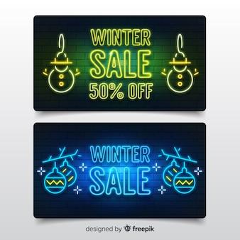 Moderne winter verkoop banners met neonlichten stijl