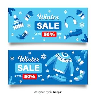Moderne winter verkoop banners
