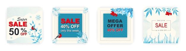 Moderne winter vierkante verkoop poster sjablonen social media posts met bloemen- en geometrisch patroon
