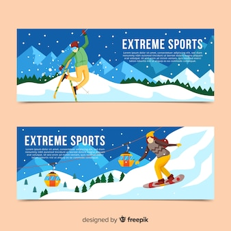 Moderne wintersportbanners