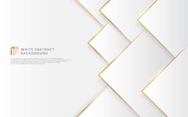 Moderne witte driehoeksachtergrond met gouden lijneneffect