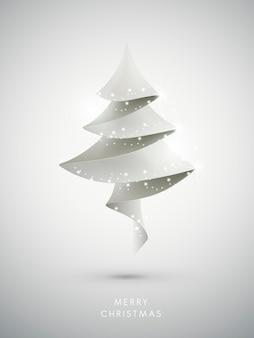 Moderne witte kerstboom op besneeuwde achtergrond