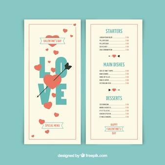 Moderne witte valentijn menusjabloon