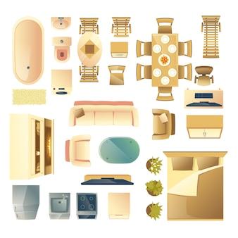 Moderne woon- en slaapkamer houten meubels, keuken en badkamerapparatuur