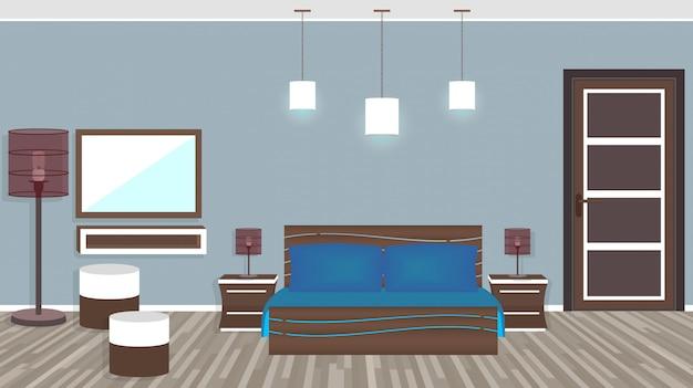 Moderne woonkamer in hotel in vlakke stijl