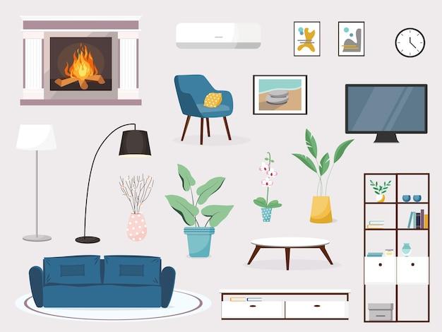 Moderne woonkamer interieur vector banner grote gedetailleerde interieur set gezellige woonkamer