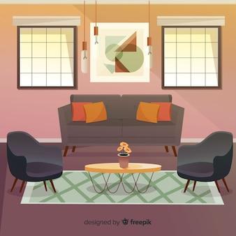Moderne woonkamer met een plat ontwerp