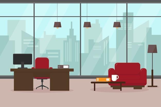 Moderne woonkamer of kantoor met groot raam en meubilair. werkplek in grote moderne stad.