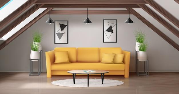 Moderne woonkamer op zolder met houten plafondbalk en ramen in roo