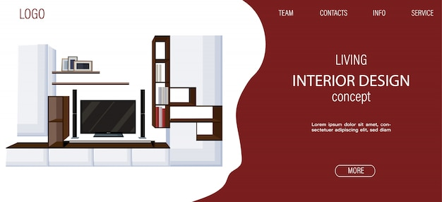 Moderne woonkamer sitesjabloon met grote tv en planken voor boeken en fotolijsten