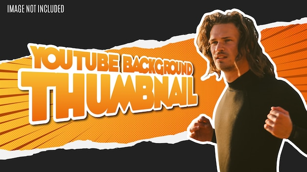 Moderne youtube-achtergrondminiatuur met papercut-effect