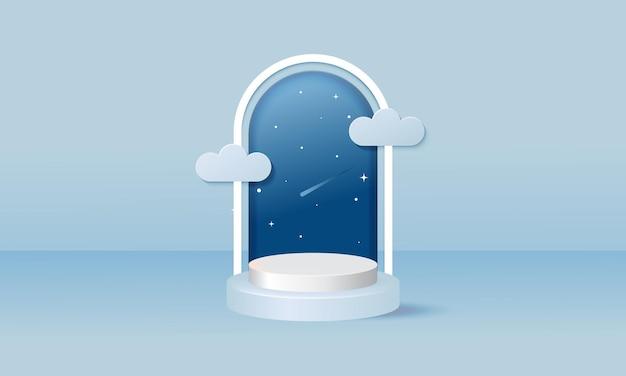 Moderne zachtblauwe podiumsjabloon voor productvertoning versierd met wolk