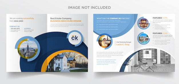 Moderne zakelijke bi-fold brochure sjabloon voor onroerend goed