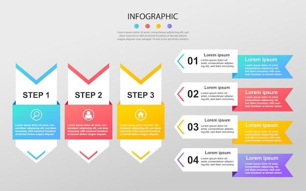 Moderne zakelijke gegevensvisualisatie procesgrafiek abstracte elementen van grafiekdiagram infographic