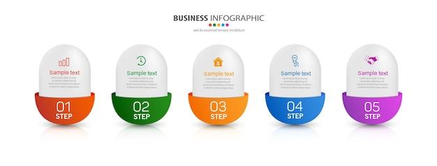 Moderne zakelijke infographic ontwerpsjabloon met 5 stappen