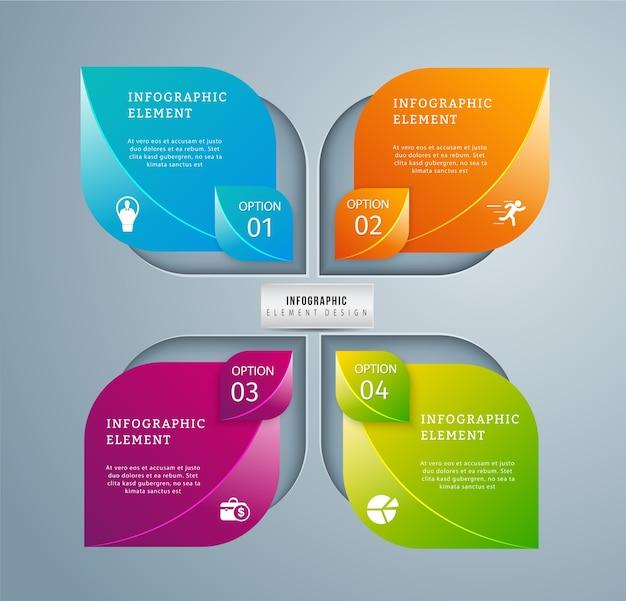 Moderne zakelijke infographic sjabloon 4 optionsdesign.