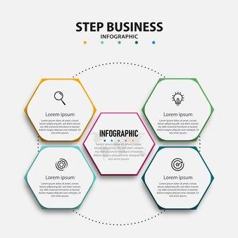Moderne zakelijke infographic sjabloon met stappen