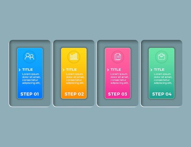 Moderne zakelijke infographics met 4 stappen sjabloon