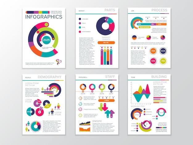 Moderne zakelijke presentatiedocumenten met afbeeldingen en infographic grafieken.