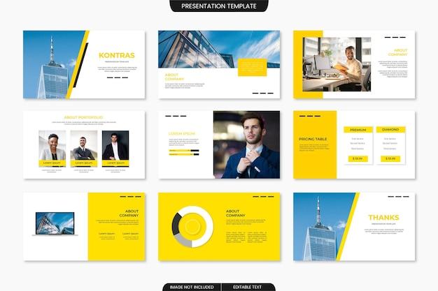 Moderne zakelijke presentatiesjabloon met blauwe en gele kleur