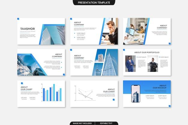 Moderne zakelijke presentatiesjabloon met minimalistische blauwe kleur