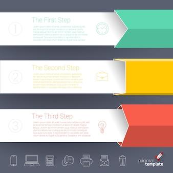 Moderne zakelijke stap voor stap grafieken en grafieken opties banner. moderne ontwerpsjabloon