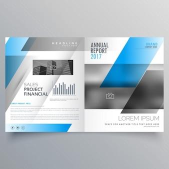 Moderne zakelijke tweevoudig brochure sjabloon met blauwe zwarte abstracte vormen