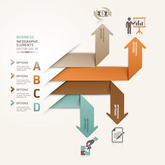 Moderne zakenpijl-origami-stijl opvoeren opties kunnen worden gebruikt voor de werkstroom layout, diagram, aantal opties, webdesign, infographics.