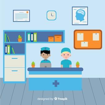 Moderne ziekenhuisreceptie met platte vormgeving