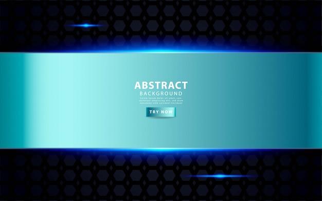 Moderne zilveren blauwe overlay lagen achtergrond. realistisch lichteffect op gestructureerde zwarte pentagon-achtergrond.