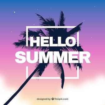 Moderne zomer achtergrond met palmboom