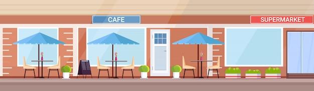 Moderne zomer café winkel buitenkant leeg geen mensen straat restaurant terras buiten cafetaria in de supermarkt bouwen platte horizontale banner