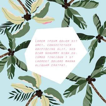 Moderne zomer palmboom kaart, uitnodiging ontwerp met geïsoleerde elementen. handgetekende palmen op een blauwe hemel.