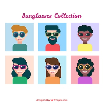 Moderne zonnebrilcollectie met mensen poseren