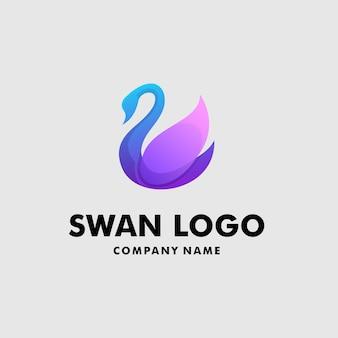 Moderne zwaan logo ontwerpsjabloon